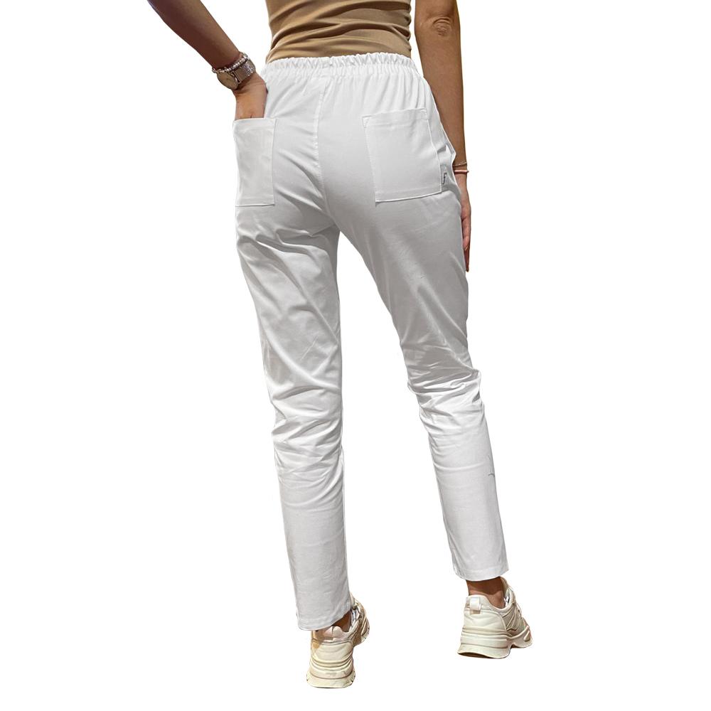Legging stretch cu betelie elastic alb spate Femina Medical
