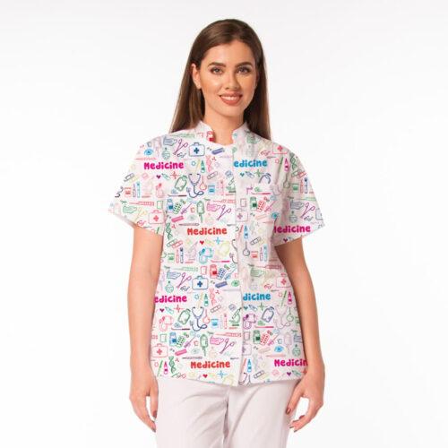 Jacheta medicala Mia cu imprimeu Medicine