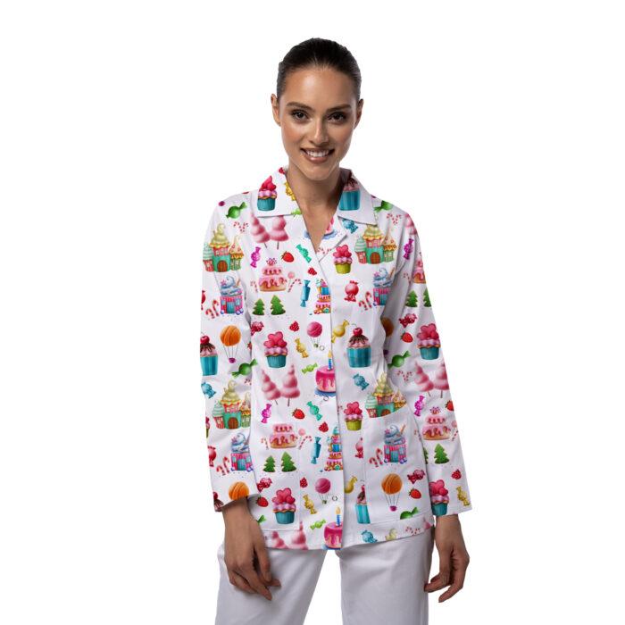 Jacheta medicala Nora cu imprimeu Denta
