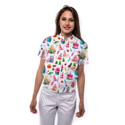 jacheta medicala cu maneca scurta si imprimeu bomber cupcakes Femina Medical